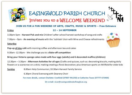 EASINGWOLD PARISH CHURCH Invites you to a WELCOME WEEKEND