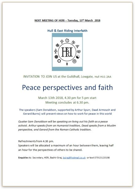 Next meeting of Hull & East Riding Interfaith (HERI)