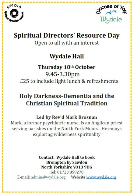 Spiritual Directors Resource Day (SPIDIR): Holy Darkness